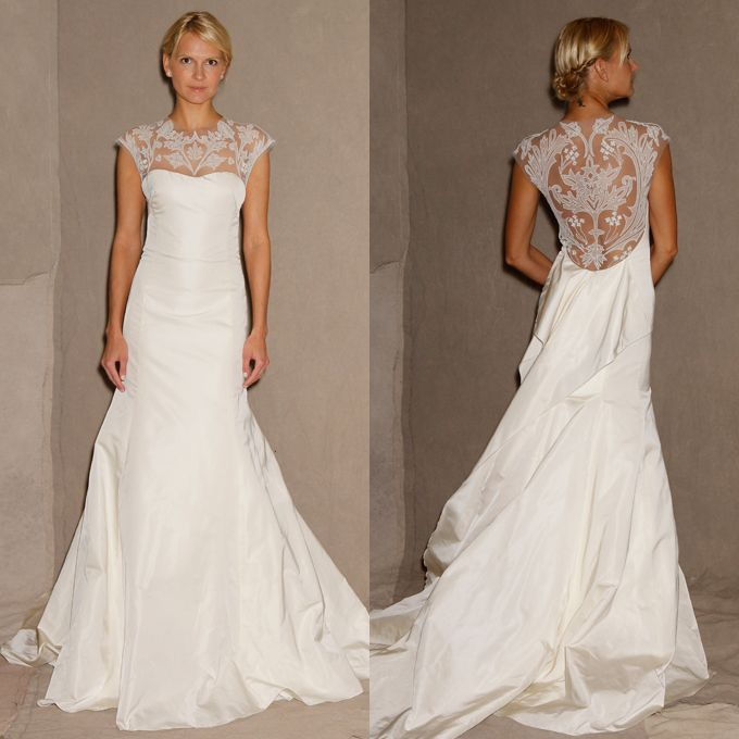 Brides.com: Open-Back Wedding Dresses from Spring 2013. Open-Back Wedding Dress: Lela Rose. Tompkins Square Park, $4,995, Lela Rose  Browse more Lela Rose wedding dresses