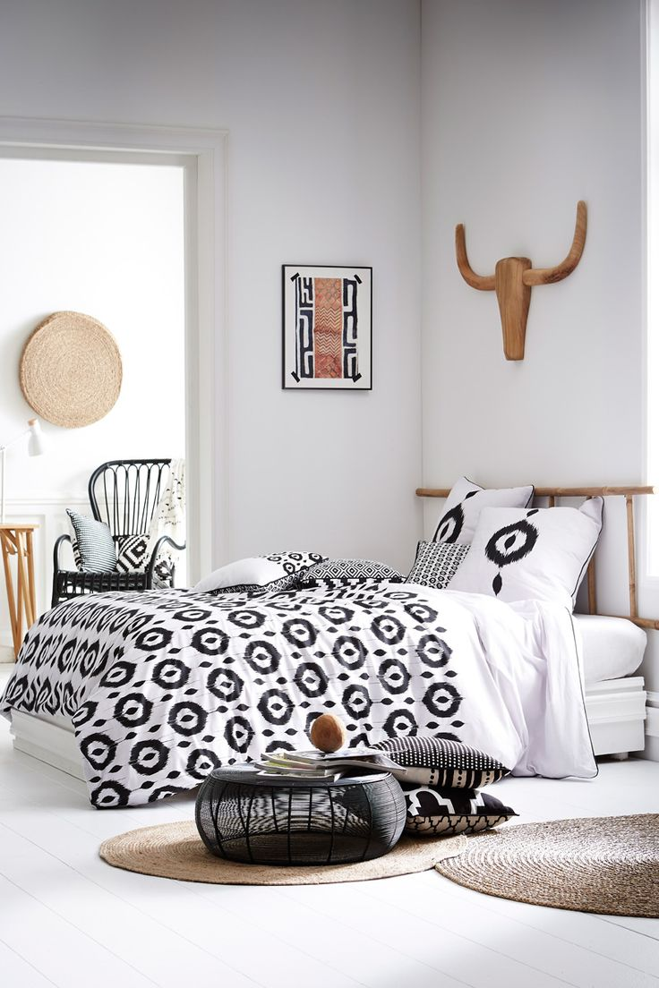 Vente today 23190 linge de lit imprim esprit for Parure de couette noir et blanc