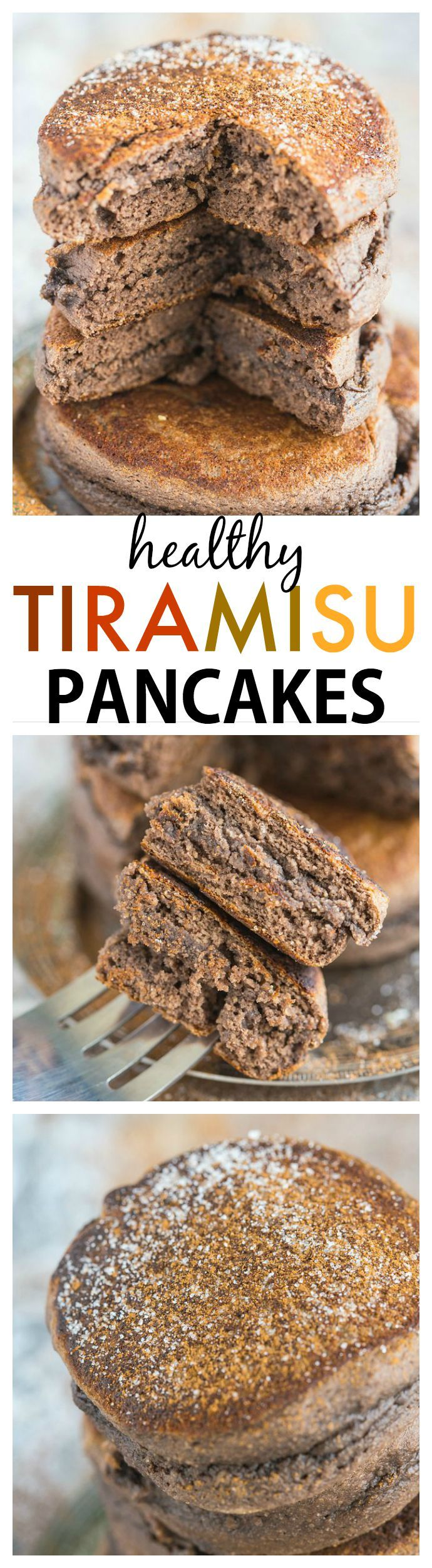 Thick and fluffy tiramisu flavoured pancakes which are actually healthy for you! Quick, easy and delicious- These will be a breakfast staple! {vegan, gluten free, high protein + paleo option}