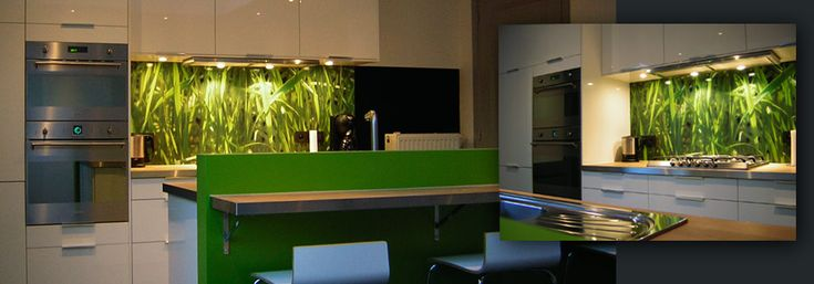 Our pimped kitchens section shows you our splashback designs in a finished kitchen: A stylish kitchen with our Grassy Green design