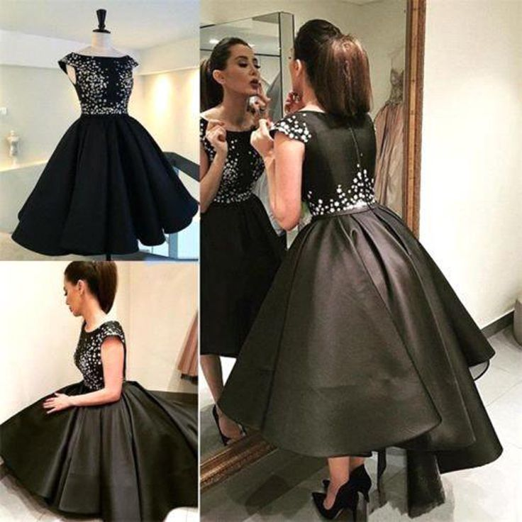 >> Click to Buy << Short Black Prom Dresses New 2017 Elegant Real Photos Hi Lo Flowers Satin Vestidos Longo Christams Ball Gowns Special Occasion #Affiliate