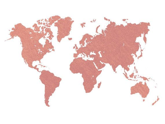 Rose Gold World Map Printable/ Wall Art/ Room by iamuniqueprints