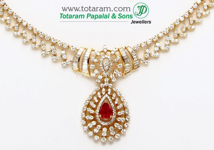 Totaram Jewelers: Buy 22 karat Gold jewelry & Diamond jewellery from India: 18K Gold Diamond Necklace & Earrings Set with Ruby