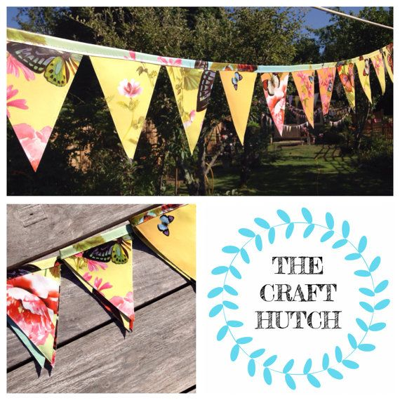 Oilcloth Rainbow and Butterfly Bunting by TheCraftHutch on Etsy
