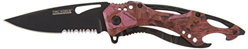 TAC Force TF-705PC Assisted Opening Tactical Folding Knife, Black Half-Serrated Blade, Pink Camo Handle, 4-1/2-Inch Closed. For product info go to:  https://all4hiking.com/products/tac-force-tf-705pc-assisted-opening-tactical-folding-knife-black-half-serrated-blade-pink-camo-handle-4-12-inch-closed/