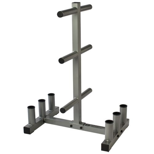 Store your Olympic sized plates in a convenient and easy to access place. This Olympic weight bar and plate holder features nylon sleeves to protect bars and will hold all sizes and weights of Olympic plates. It will also hold your lifting bar for safe and compact storage.