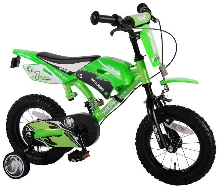 Kinderfahrrad Volare Motobike 12 Zoll grün im Motorraddesign Moto Bike Fahrrad