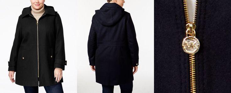 MICHAEL Michael Kors Plus Size Hooded Wool-Blend Walker Coat - Coats - Women - Macy's