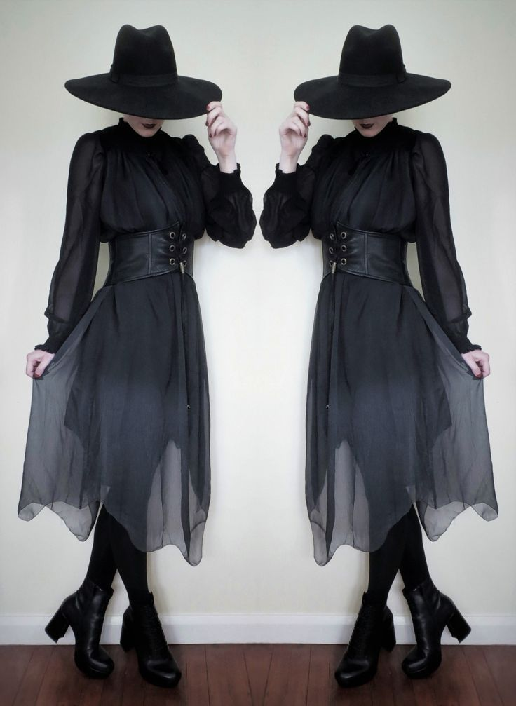 """crowrunner: """"  ☾Witch Noire☽  Hat - Killstar Dress and belt - Punk Rave x Top - Boohoo Boots - Asos Lips - """"Women's Weapons"""" by Shiro Cosmetics Instagram """""""