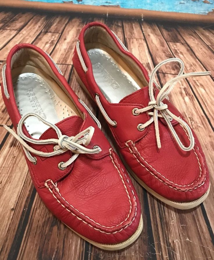 Sperry Top Sider Women's Red Leather Moccasins Shoes Sz 8.5  | eBay