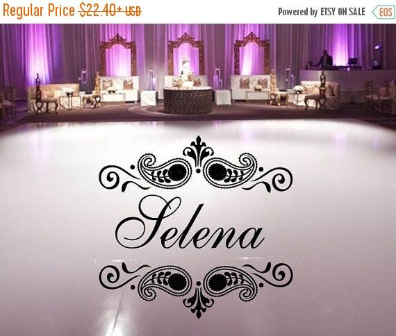 Sale vinyl dance floor decal monogram initial with paisley frame custom