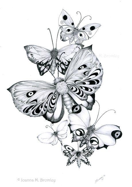 Butterflies Pencils by *JoannaBromley on deviantART Coloring pages colouring adult detailed advanced printable Kleuren voor volwassenen