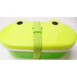 Bento frog lunch box Bento lunch boxes are cool, cute and clever! This Bento box has a top compartment for chopsticks or you could replace with a spoon. The kit is made sturdy with a band around to keep contents secure. Be cool on the move with the unique Bento Box!  The possibilities are endless with Bento!  www.cheekychuckles.com.au