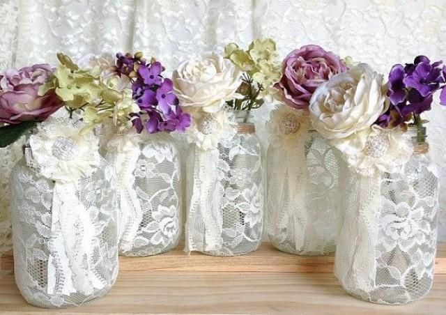 lace+balloons+wedding+decor | ivory-lace-covered-jar-perfect-for-wedding-decorations-bridal-shower ...