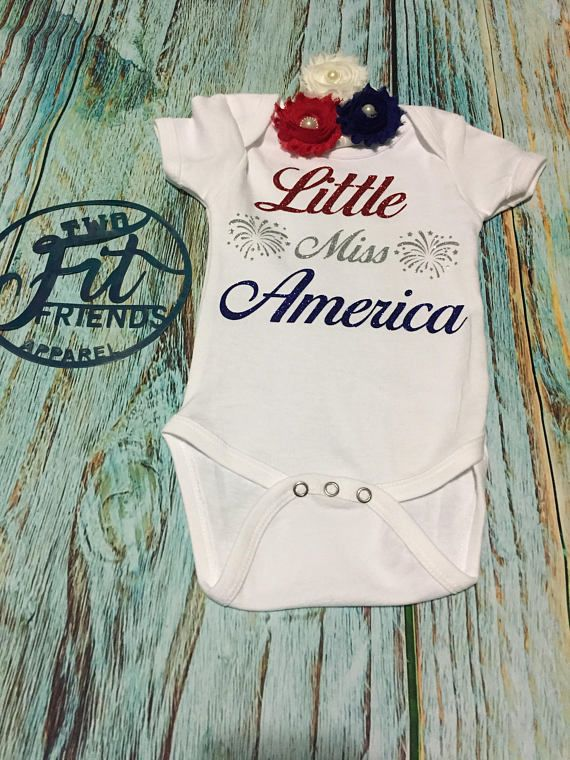 Little Miss America Independence Day Fourth of July One Piece