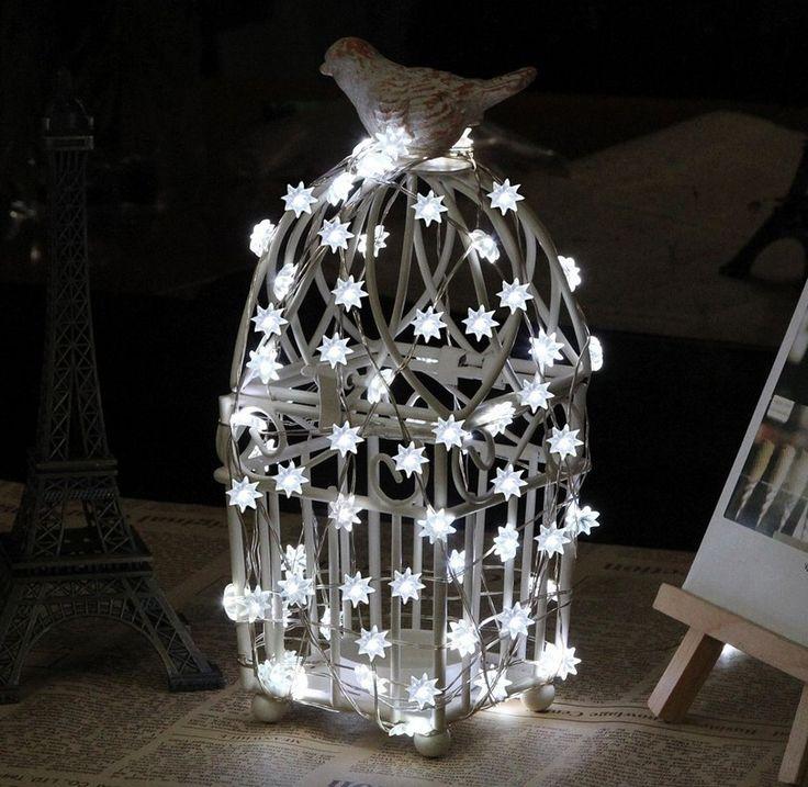 Холодный белый 10 м 100 из светодиодов восемь - звезда медного провода серебро звездные огни включены с 12 В сша / ес адаптер рождество украшения