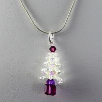 Crystal Christmas Tree Pendant - Crystal AB & Fuchsia