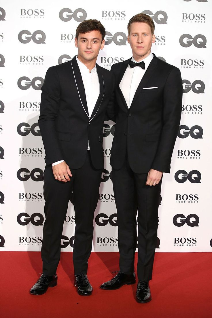 Tom Daley and Dustin Lance Black wearing The Kooples at the GQ Men of the Year Awards in London