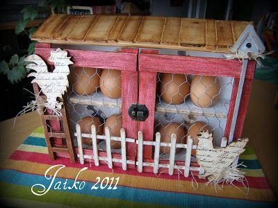 September Moon: wooden box egg holder