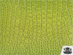 Vinyl Crocodile GREEN Fake Leather Upholstery Fabric By the Yard