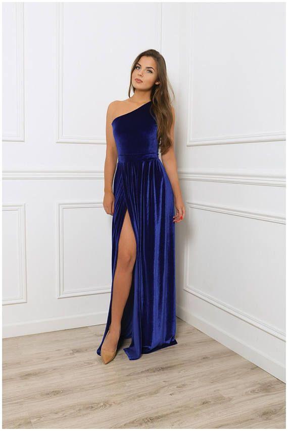 de91b2c5f40 One Shoulder Royal Blue Velvet Maxi Dress  Sleeveless High Slit Party Dress   With Sash Waistband in 2019