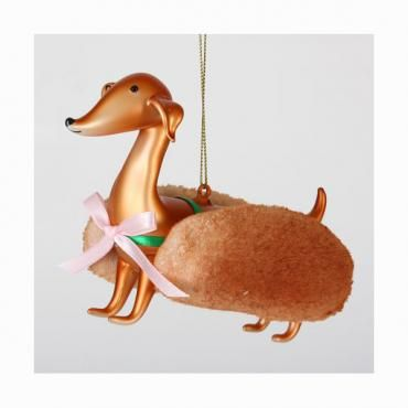 Doxie in bun (glass ornament) from the Dachshund Rescue of North America store