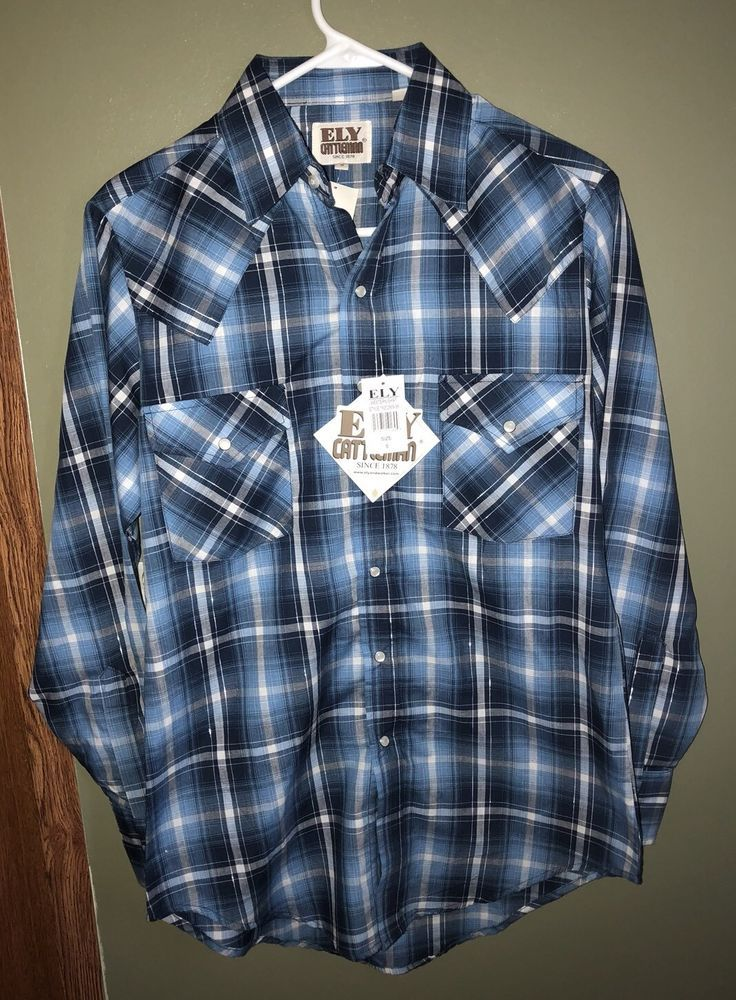 b2986d324e6ff5 Ely Cattleman Men s Western Pearl Snap Striped Long Sleeve Shirt Size Small  NWT 50971191894