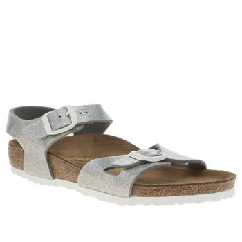Birkenstock Silver Rio Girls Junior Birkenstock kits out the kids in sparkly summer charm, with their Rio sandal. The silver man-made upper features a glittery finish, with double adjustable buckle straps for a secure and comfy fit. Bra http://www.MightGet.com/january-2017-13/birkenstock-silver-rio-girls-junior.asp