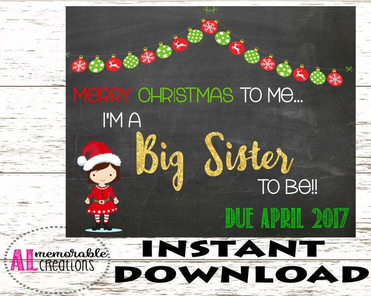Christmas Pregnancy Announcement/Promotion to Big Sister/Expecting Baby Number 2 Chalkboard/Dated April 2017/Pregnancy Chalkboard/Photo Prop by ALMemorableCreations on Etsy