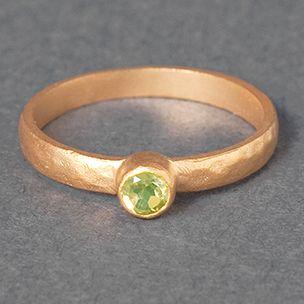 Peridot Matte Gold Ring