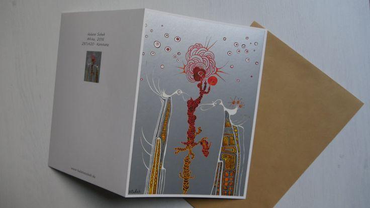 Kunst-druck-Karte Din A5 Sonderdruck Handsigniert Postkarte Faltkarte H. Sobek