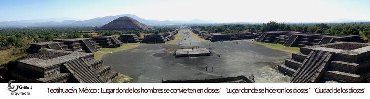Panorámica de Teotihuacan o Teotihuacán (en náhuatl: Teōtihuācan, ''lugar donde los hombres se convierten en dioses '; 'lugar donde se hicieron los dioses '; 'ciudad de los dioses''), fue una de las mayores ciudades prehispánicas de Mesoamérica