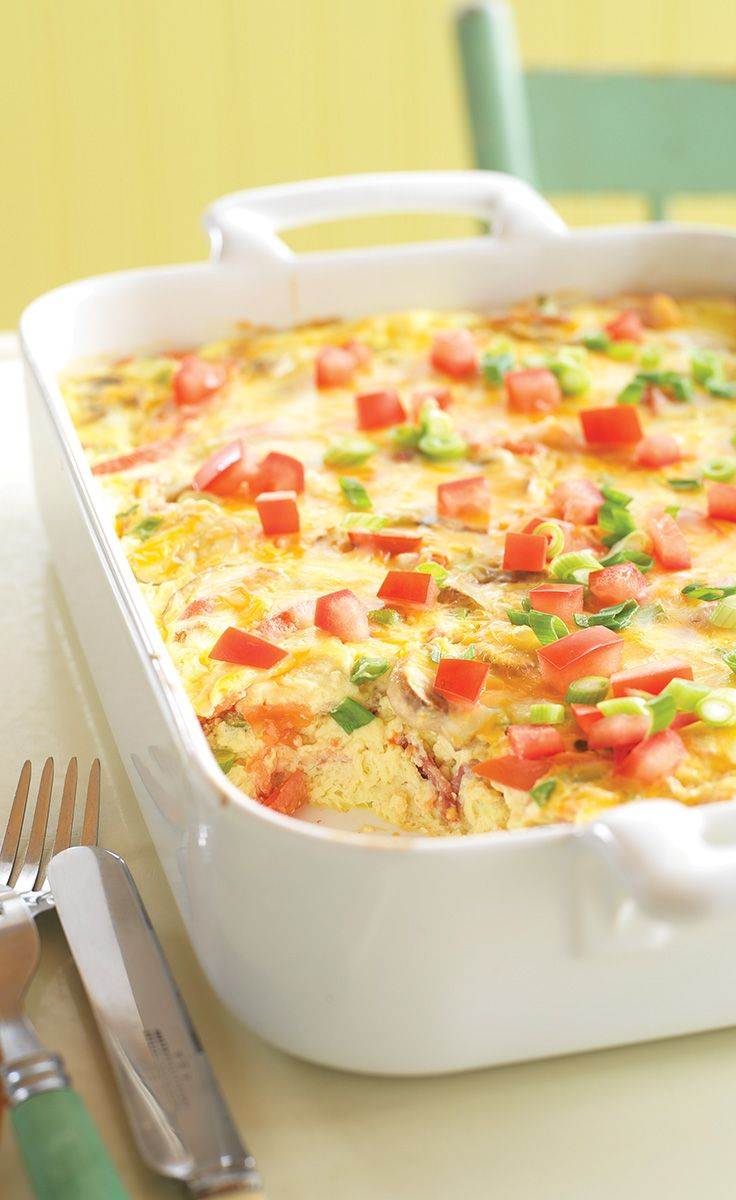 Crustless Bacon and Cheese Quiche — Fresh green onions, mushrooms and tomatoes team up with eggs, bacon, sour cream and cheese for a mouthwatering quiche without the fuss of the crust.