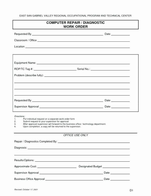 Maintenance Request Form Template In 2020 Computer Repair