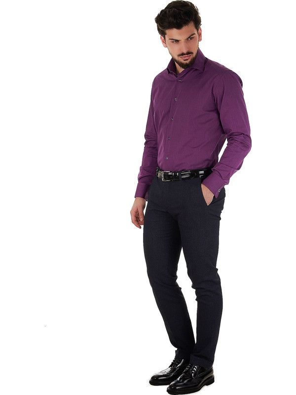 Delsiena Men's purple shirt elegant style