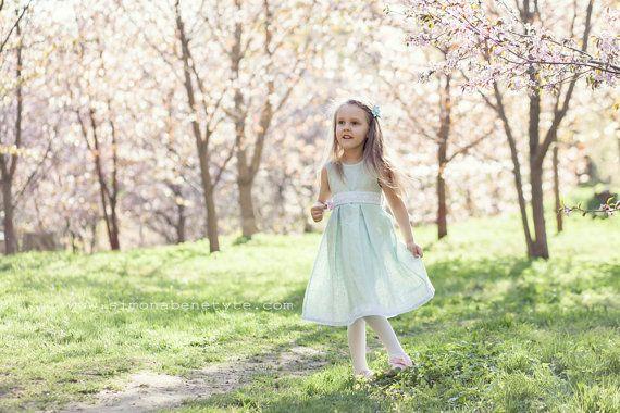 Special occasion flower girl mint linen dress  Girl by PetitDeLin #flowergirl #weddings #easter
