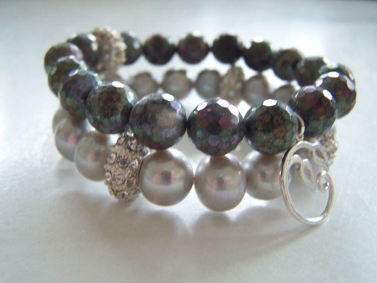 Labradoryt i srebro oraz perły z cyrkoniami. labradorite stone & silver with gray pearls