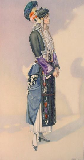 NICOLAS SPERLING Festive Dress (Macedonia, Roumlouki) 1930 lithograph on paper after original watercolour 37x20).