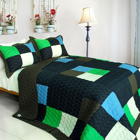 Minecraft style teen boy bedding full queen quilt set black green blue