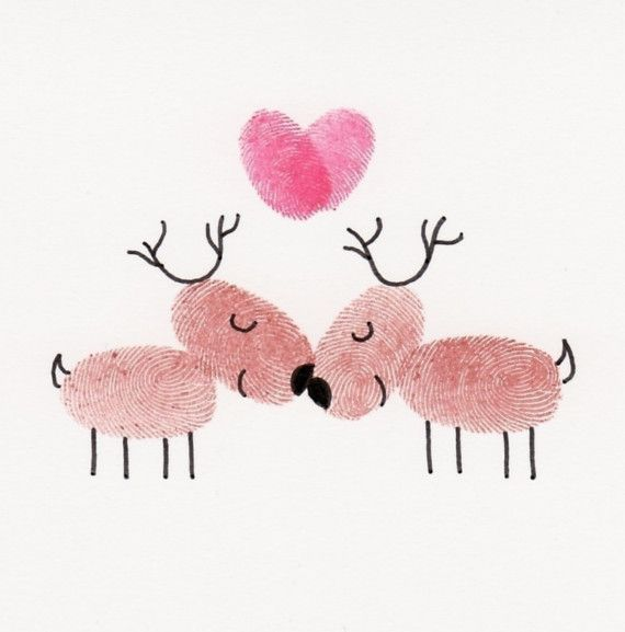 Items similar to Kissing Reindeer Card on Etsy