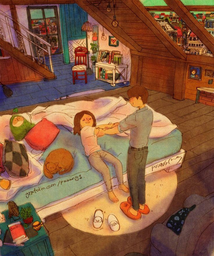 "♥  WAKE UP!  ~  ""Hey sleepyhead, it's time to wake up!"" / ""But I'm soooo tired and my body feels soooo heavy…""   ♥  by Puuung at www.grafolio.com/works/232654   ♥"