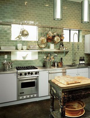 green tiles and open shelf are so fluid