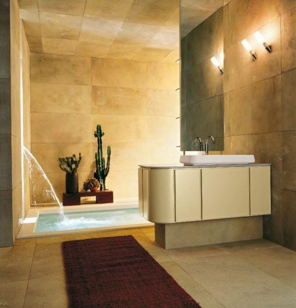 badezimmer-modern-gestalten- dekokakteen und goldene farbe - Modernes Bad – 50 Designer Ideen
