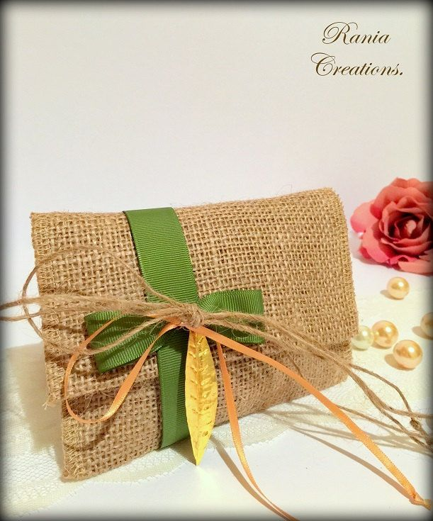 Rustic favor bag.Rustic wedding favor bag.Burlap favor bag.Wedding thank you favor bags.Burlap envelope.Gift bag.Stefana. by RaniaCreations on Etsy