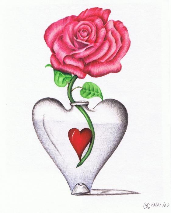 Heart Flower Vases Rose In Heart Vase Drawing Heart Of