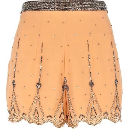 orange embellished shorts - smart shorts - shorts - women - River Island