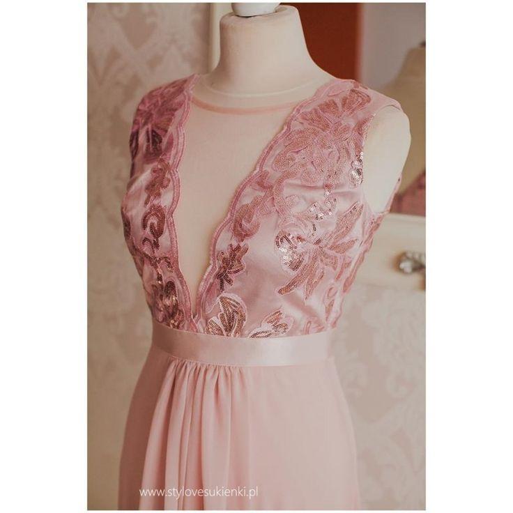 Fantastyczna, szyfonowa sukienka w pięknym, pastelowym kolorze. Długa, wieczorowa sukienka z głębokim dekoltem ozdobionym siateczką i mieniącymi cekinami.