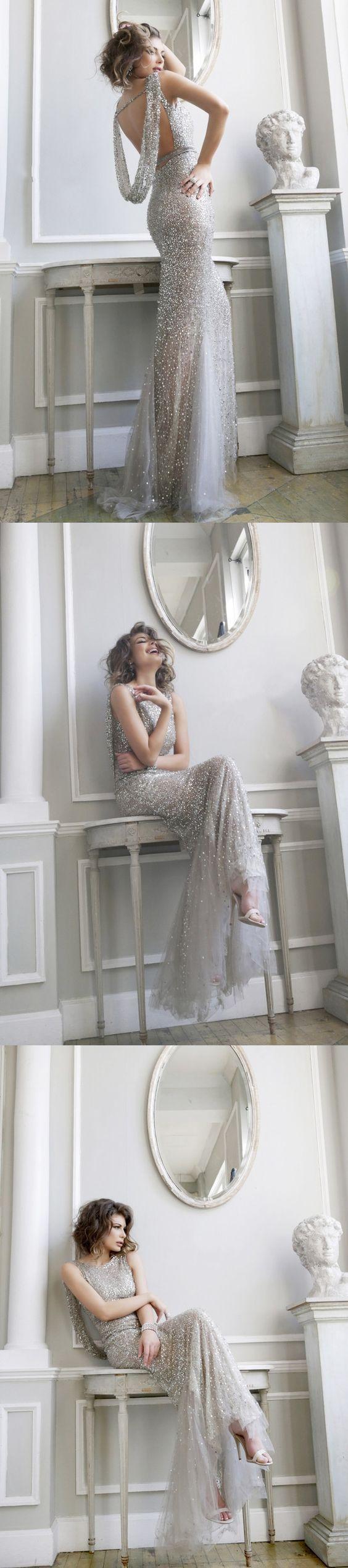 Shinning Open Back Mermaid Tulle Sequin Cheap Long Prom Dresses, WG1037 #promdress #promdresses