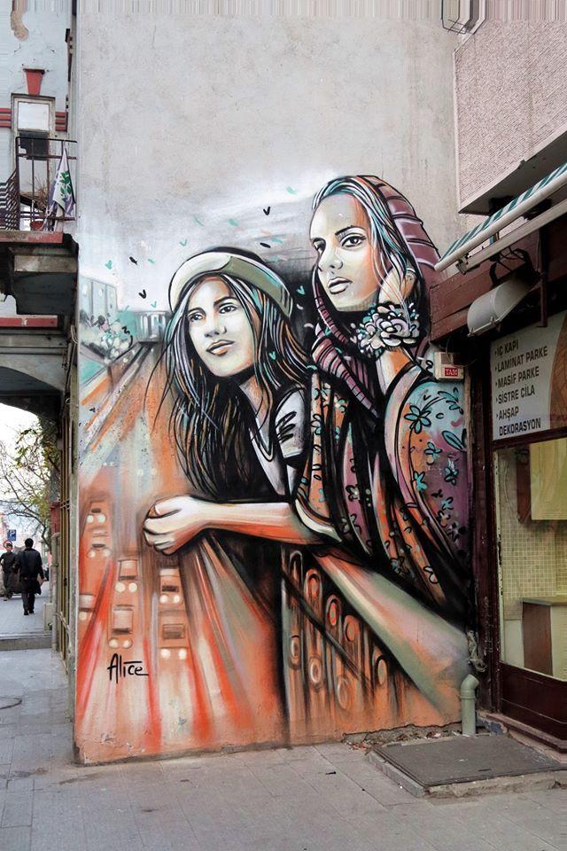 """Alice - Italian Street Artist - Istanbul - """"East and West"""" - 01/2015 -  \*/  #alice #alicepasquini #streetart"""