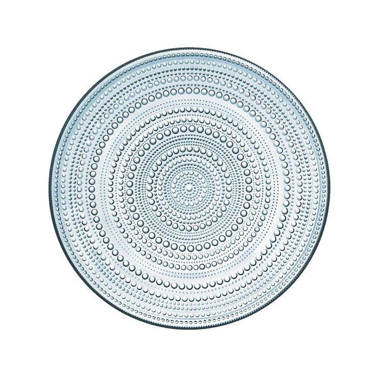 Classic Iittala Kastelhelmi glass plate with dewdrop design, dove blue.